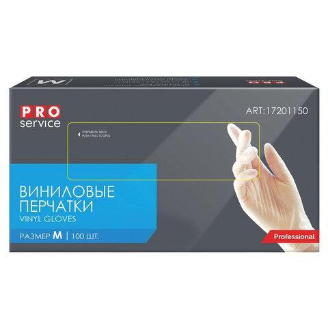 Перчатки виниловые неопудренные, размер М 100шт/уп (PRO Service Professional)