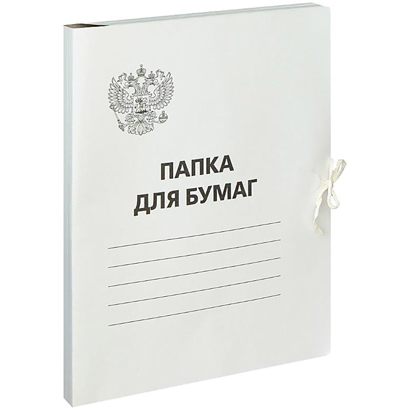 Папка д/бумаг с завязками 300г/м2, Герб России, белый, немелованный, (OfficeSpace)