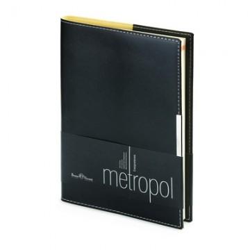 """Ежедневник недатированный А5, 136л, кожзам, черный, крем. блок """"METROPOL"""" (Bruno Visconti)"""
