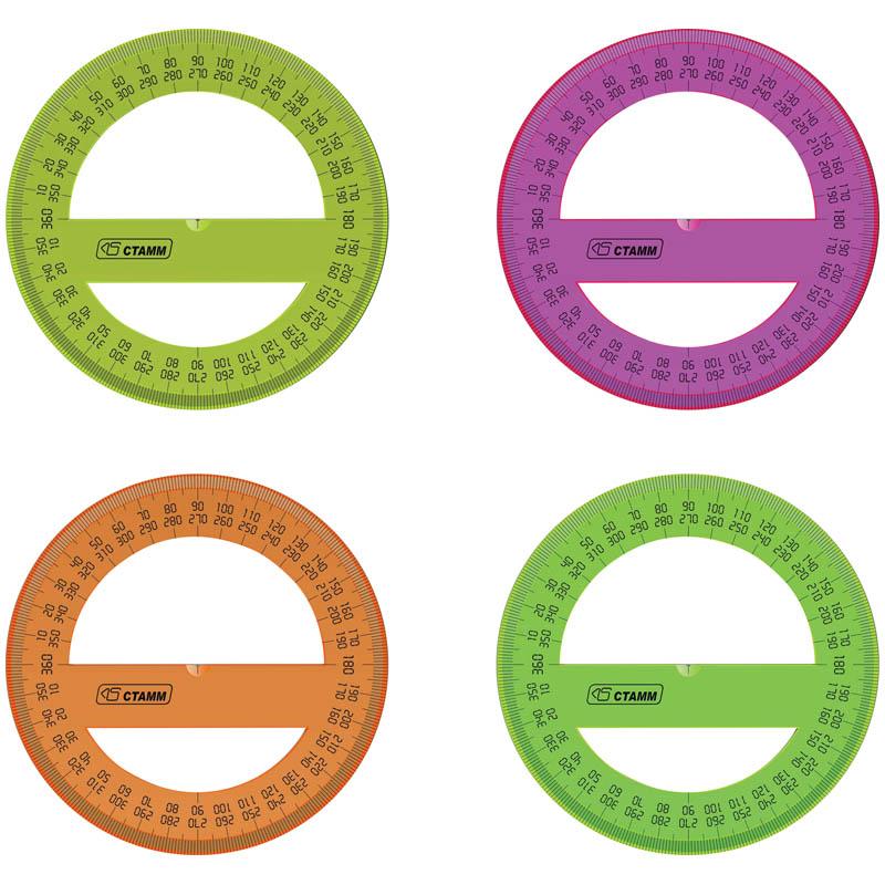 Транспортир 360 град./10см, пластиковый, флуоресцентный, 20шт/спайка (Стамм)