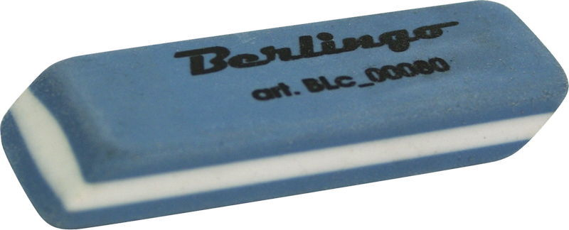 Ластик 55х20х8мм, каучук, двухцветный 30шт/уп (Berlingo)