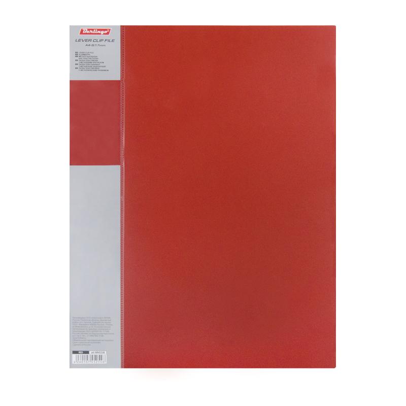 """Папка с прижимом 17мм, красная, торцевой карман, 700мкм """"Standard"""" (Berlingo)"""