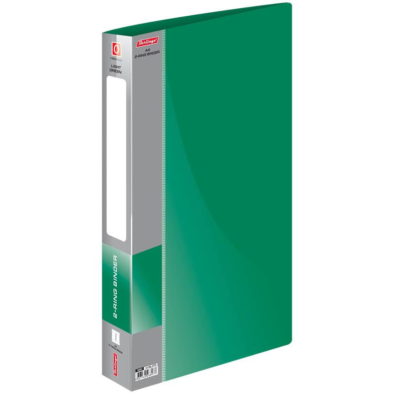 """Папка на 2 кольца, 25мм, зеленая, торцевой карман, 700мкм, """"Standard"""" (Berlingo)"""