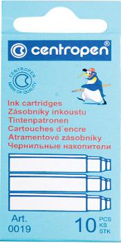Комплект картриджей для перьевой ручки (10шт), синий (CENTROPEN)