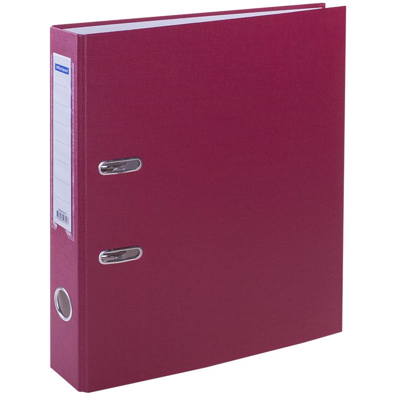 Пaпкa-регистратор 50мм, бордовая, бумвинил, с карманом на корешке 10шт/кор (OfficeSpace)