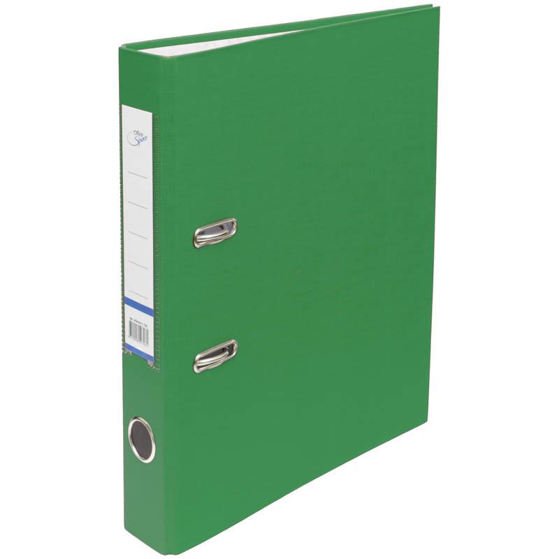 Пaпкa-регистратор 50мм, зеленая, бумвинил, с карманом на корешке 10шт/кор (OfficeSpace)