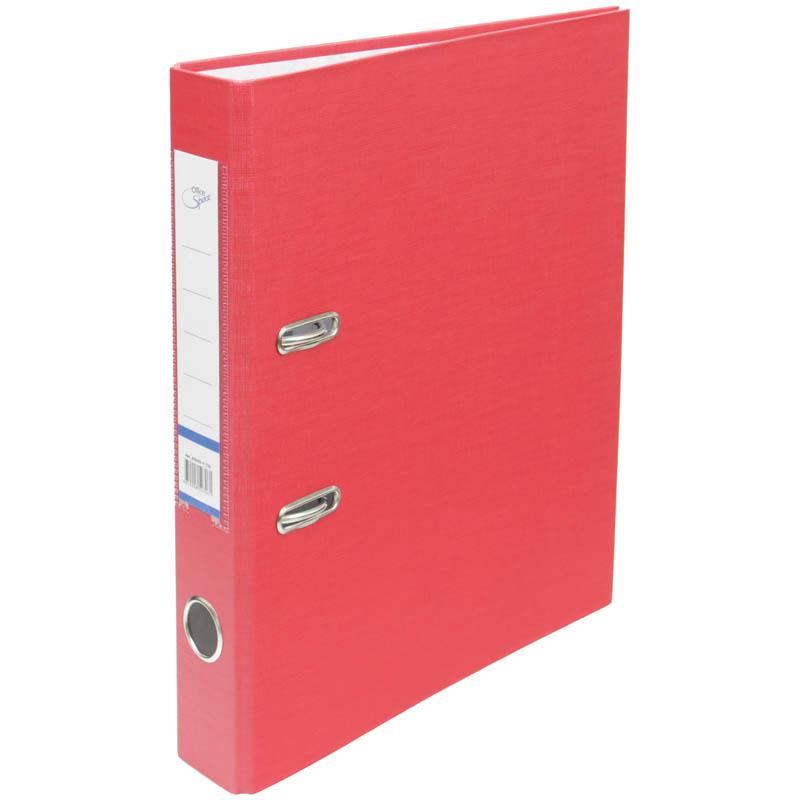 Пaпкa-регистратор 50мм, красная, бумвинил, с карманом на корешке 10шт/кор (OfficeSpace)