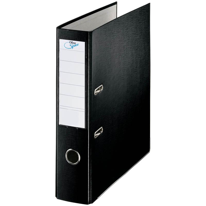 Пaпкa-регистратор 70мм, черная, бумвинил, с карманом на корешке 10шт/кор (OfficeSpace)