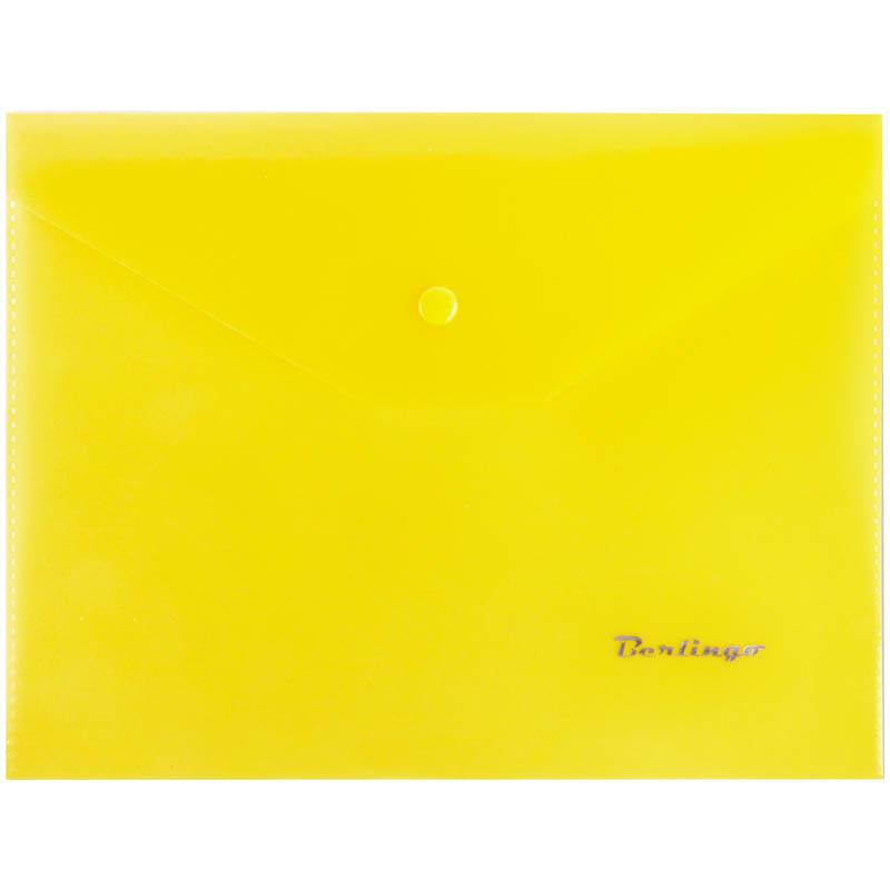 Папка-конверт на кнопке A5, желтая, 180мкм 10шт/уп (Berlingo)