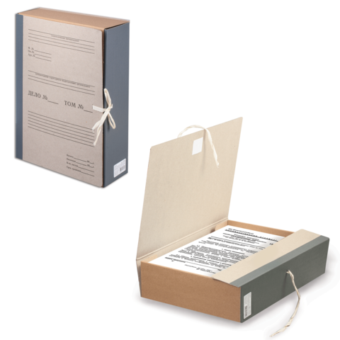 Короб архивный 80мм, переплетный картон, корешок бумвинил, с завязками 20шт/уп (STAFF)