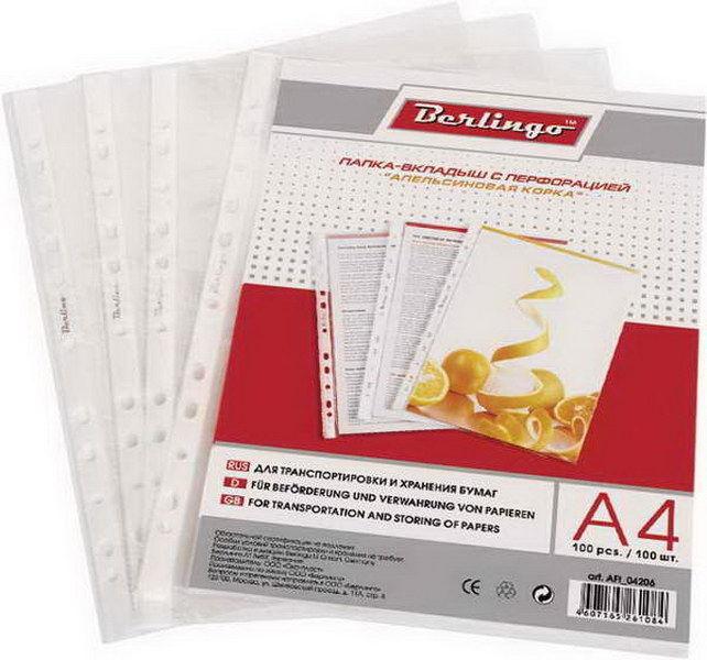 Комплект файлов А4 (100шт) апельсиновая корка, 60мкм (Berlingo)