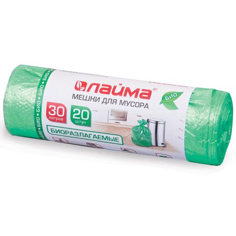 Мешки д/мусора 30лх20шт ЛАЙМА, 50х60см, 10мкм, ПНД, прочные, зеленые