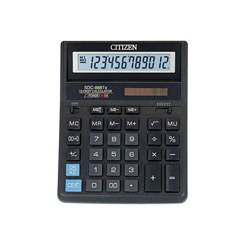 Калькулятор настольный 12 разрядов, двойное питание, 205х159х27мм, черный SDC (Citizen)