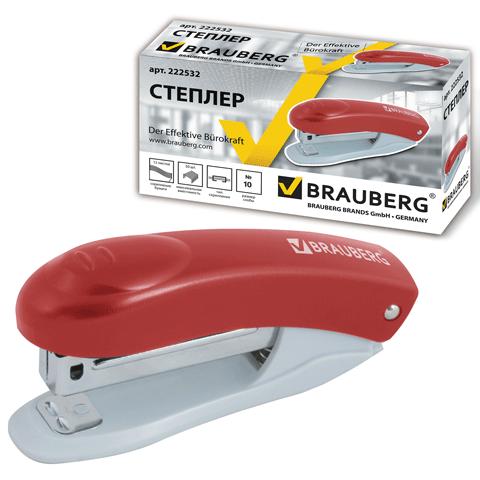Степлер №10, до 12л, металлический механизм, красный 12шт/уп (BRAUBERG)