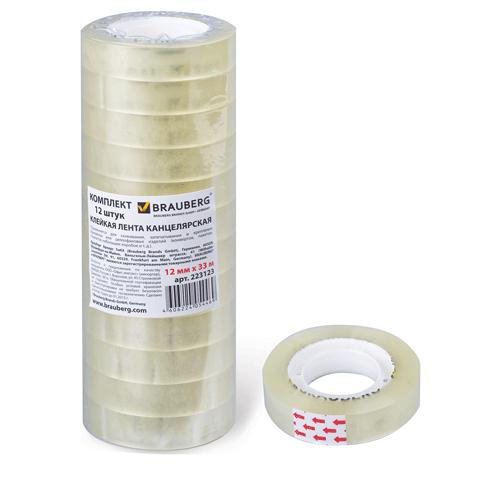 Скотч канцелярский 12х33м, прозрачный 12шт/сп (BRAUBERG)