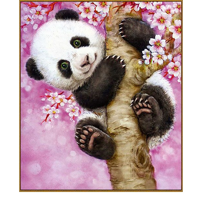 Алмазная мозаика 21 цвет «Весёлая панда»
