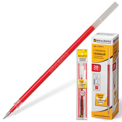 Стержень гелевый красный, 0,5мм, игольчатый, 130мм 20шт/уп (BRAUBERG)