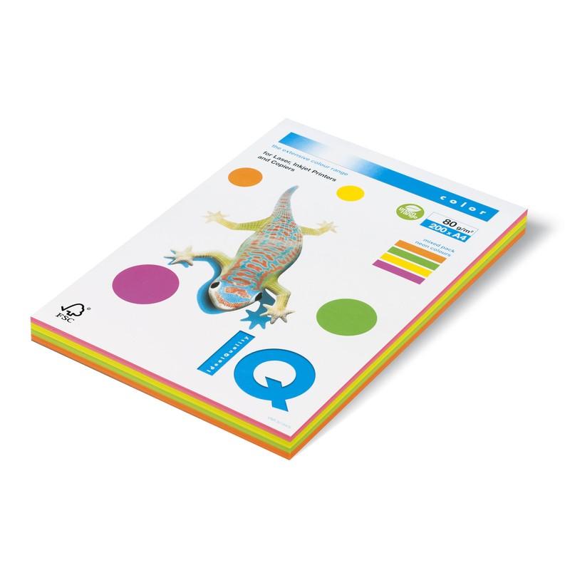 """Бумага А4 80г/м2, 200л, 4 неоновых цвета (RB04) """"Neon Mix IQ Color"""" (IQ)"""