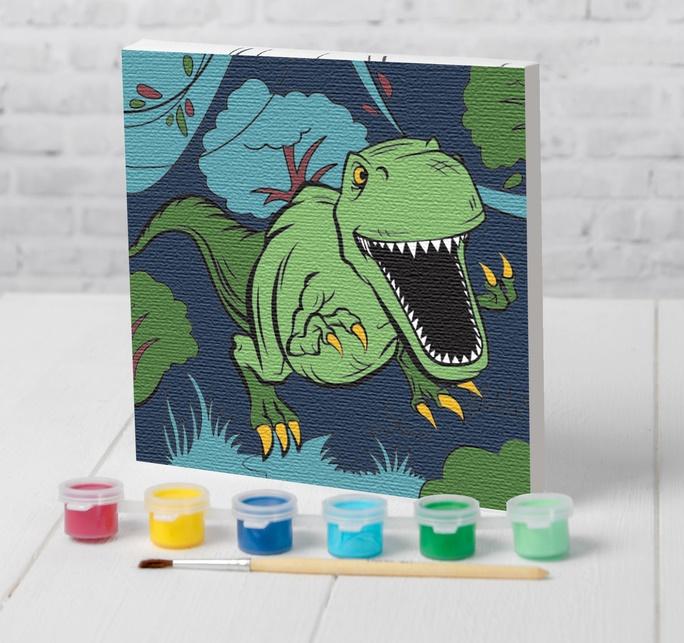 """Картина по номерам 15х15см,  """"Динозавр в джунглях"""""""