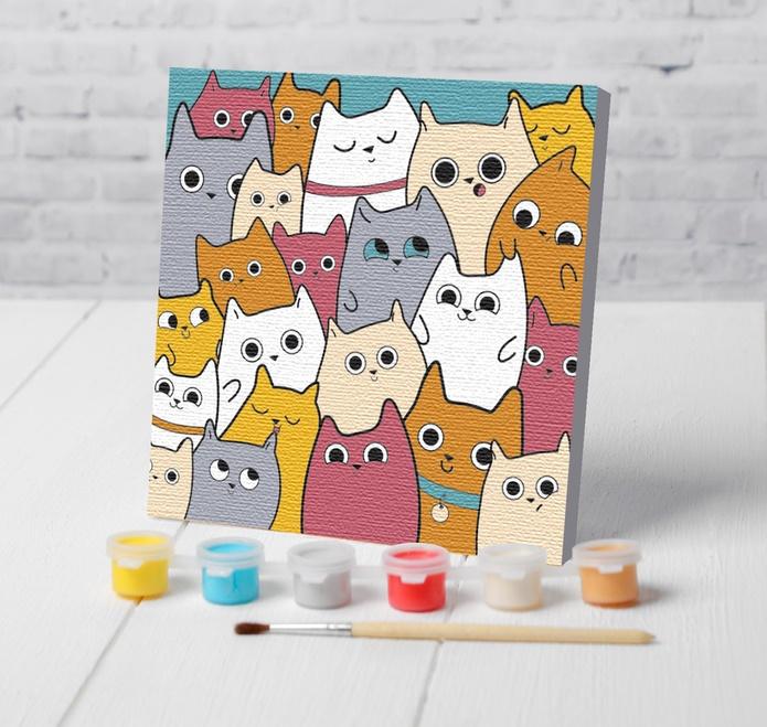 "Картина по номерам 15х15см,  ""Милые котята"""