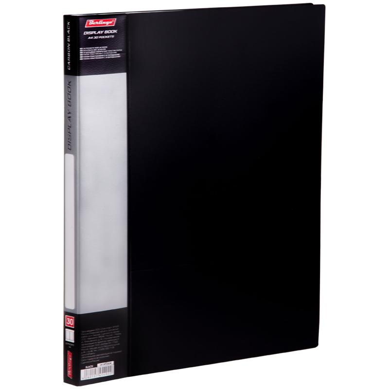"Папка на 30 файлов, черная, карман на корешке, 17мм, 600мкм ""Standard"" (Berlingo)"