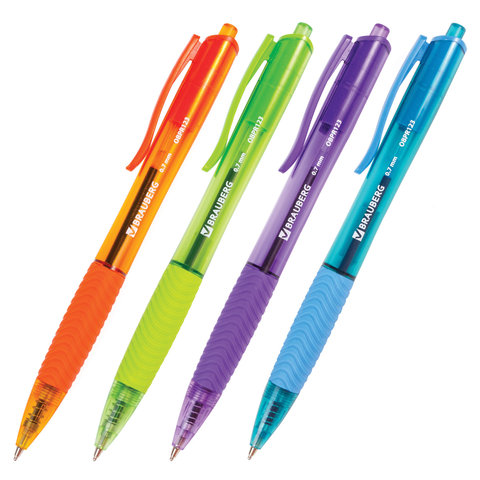 "Ручка масляная автоматическая синяя, 0,7мм, грип ""Fruity RD"" (OBPR121) 12шт/уп (BRAUBERG)"