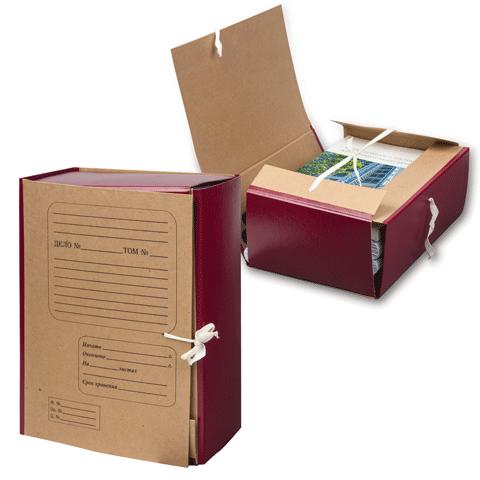 Папка архивная 120мм, крафт, корешок бумвинил, на 4х завязках (НотексПлюс)
