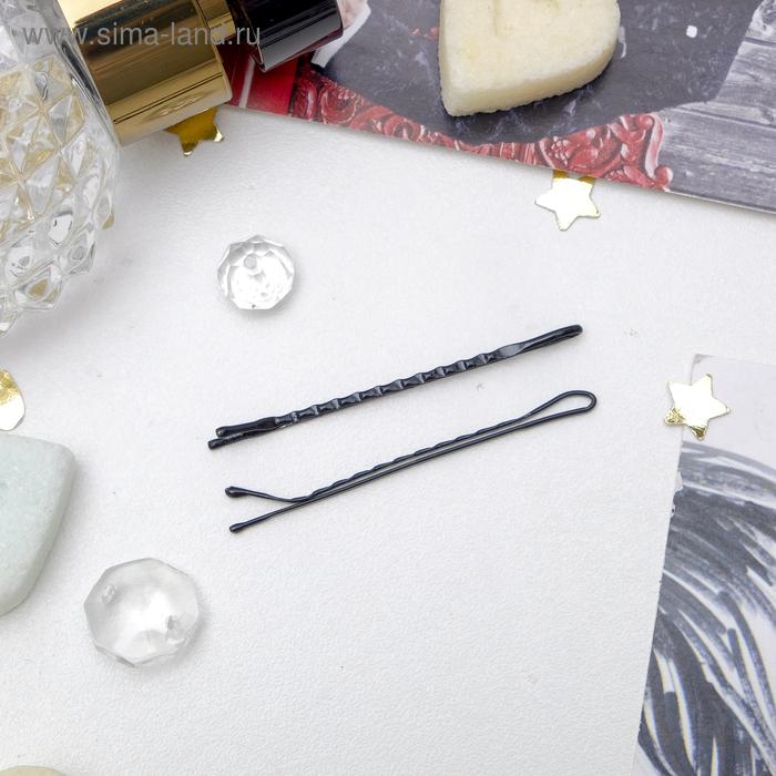 """Невидимка для волос """"Классика"""" (набор 24 шт) 5 см ребристые черные"""
