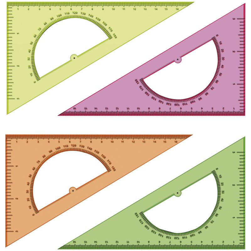 Треугольник 30°, 16см, с транспортиром, прозрачный, флуоресцентный, 20шт/спайка (Стамм)