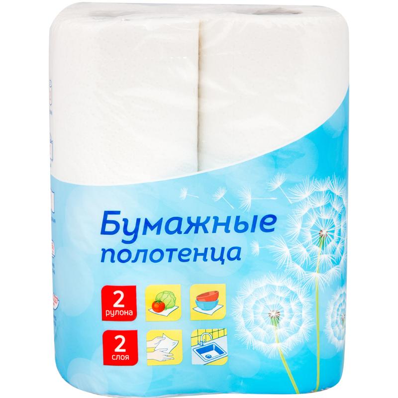 Полотенце бумажное OfficeClean, 2-х слойное, 12,5м/рул, белые, 2шт