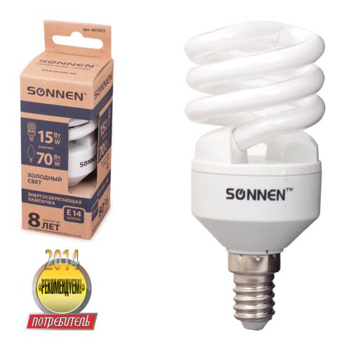 Лампа люминесц. энергосбер. SONNEN Т2, 15 (70) Вт, цоколь E14, 8000ч, хол. свет, эконом