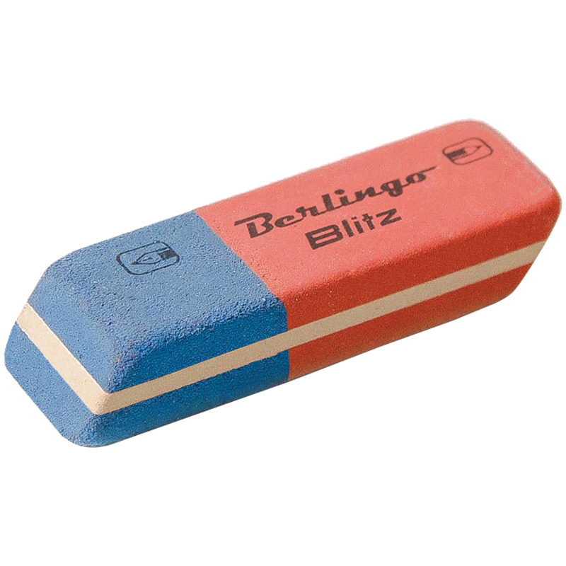 """Ластик 42х14х8мм, каучук, комбинированный, скошенный """"Blitz"""" 80шт/уп (Berlingo)"""