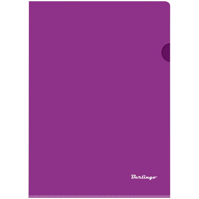 Папка-уголок А4, прозрачная фиолетовая, 180мкм, 20шт/уп (Berlingo)