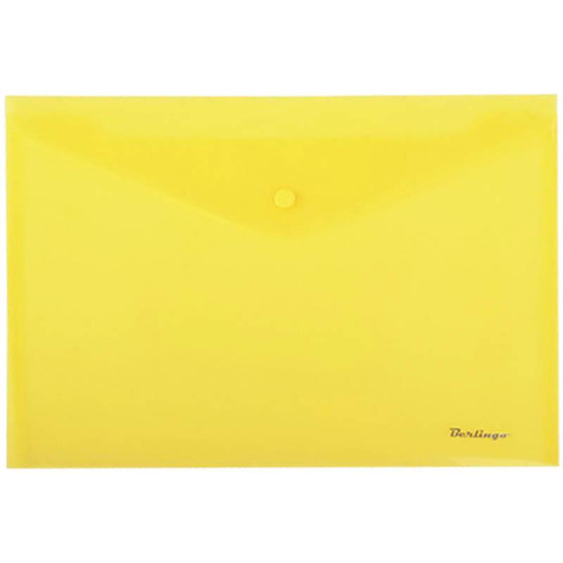 Папка-конверт на кнопке А4, желтая, 180мкм, 10шт/уп (Berlingo)