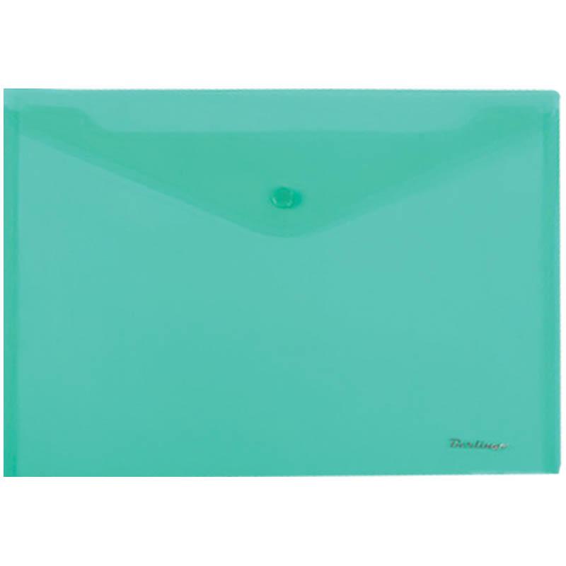 Папка-конверт на кнопке А4, зеленая, 180мкм, 10шт/уп (Berlingo)
