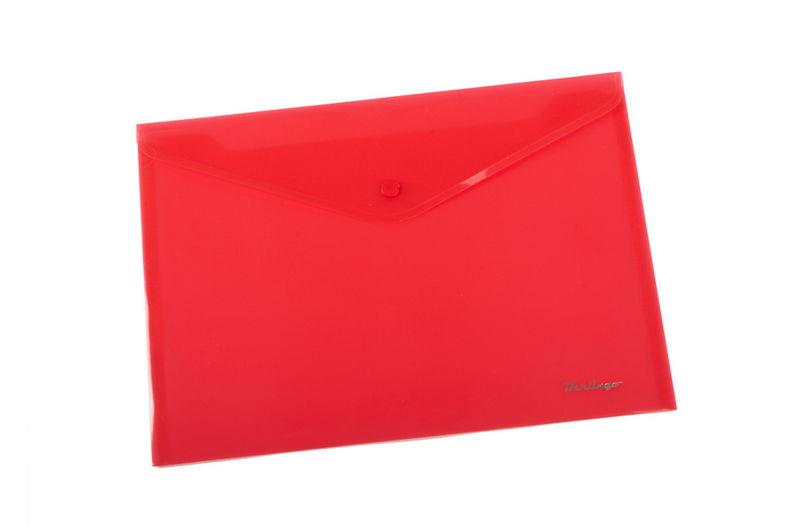 Папка-конверт на кнопке А4, красная, 180мкм, 10шт/уп (Berlingo)