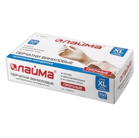 Перчатоки виниловые белые, размер XL, неопудренные, прочные ЦЕНА ЗА ПАРУ (ЛАЙМА)