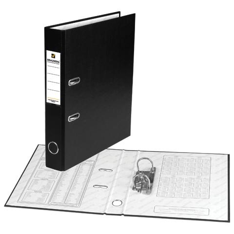 Папка-регистратор 50мм, черная, ПВХ, карман на корешке 20шт/уп (BRAUBERG)