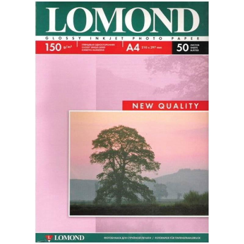 Фотобумага А4, 150гр, 50л, глянцевая, односторонняя, д/струйный принеров (LOMOND)