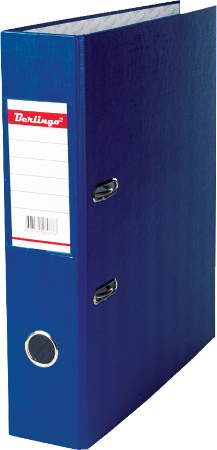 Папка-регистратор 70мм, синяя, бумвинил, с карманом на корешке 20шт/кор (Berlingo)