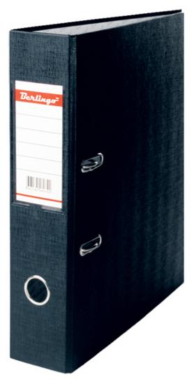 Папка-регистратор 70мм, черная, бумвинил, с карманом на корешке 20шт/кор (Berlingo)