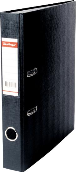 Папка-регистратор 50мм, черная, бумвинил, с карманом на корешке 25шт/кор (Berlingo )