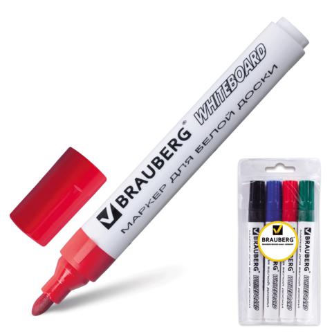 Набор маркеров д/магнитных досок 4шт, 5мм, круглый (BRAUBERG)