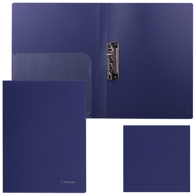 """Папка с прижимом 17мм, темно-синяя, внутрен карман, 0,6мм """"Диагональ"""" (BRAUBERG)"""