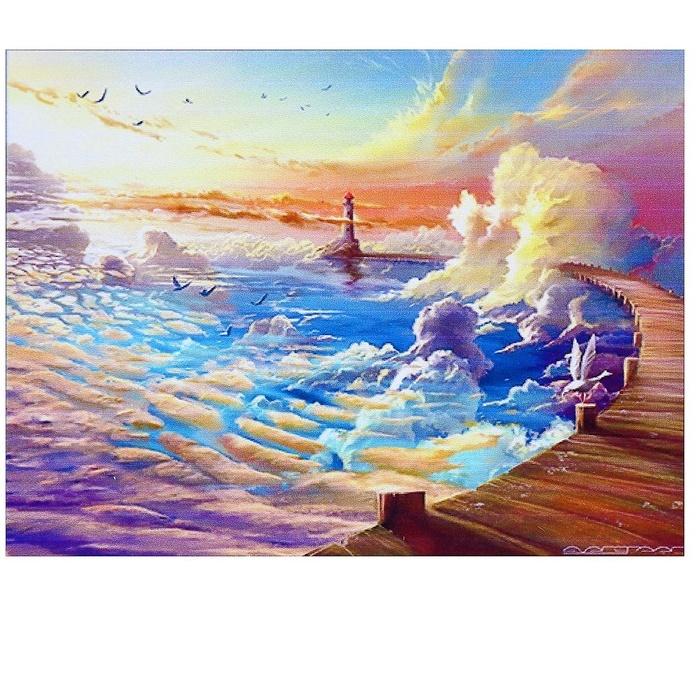 """Алмазная мозаика 40х30см, 35 цветов """"Облачный маяк"""""""