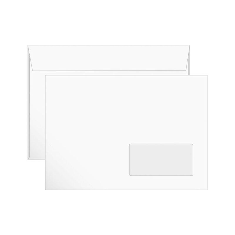 Конверт С5 (162х229) белый, правое окно, отрывная лента 1000шт/кор (РяжскГознак)