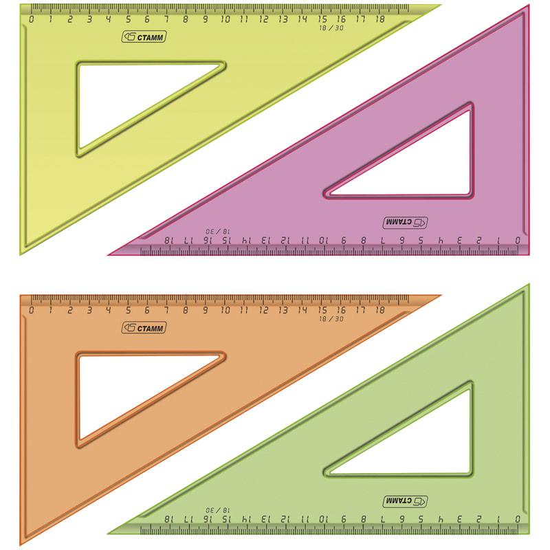 Треугольник 30 град, 18см, с окружностями, цветной, прозрачный (Стамм)