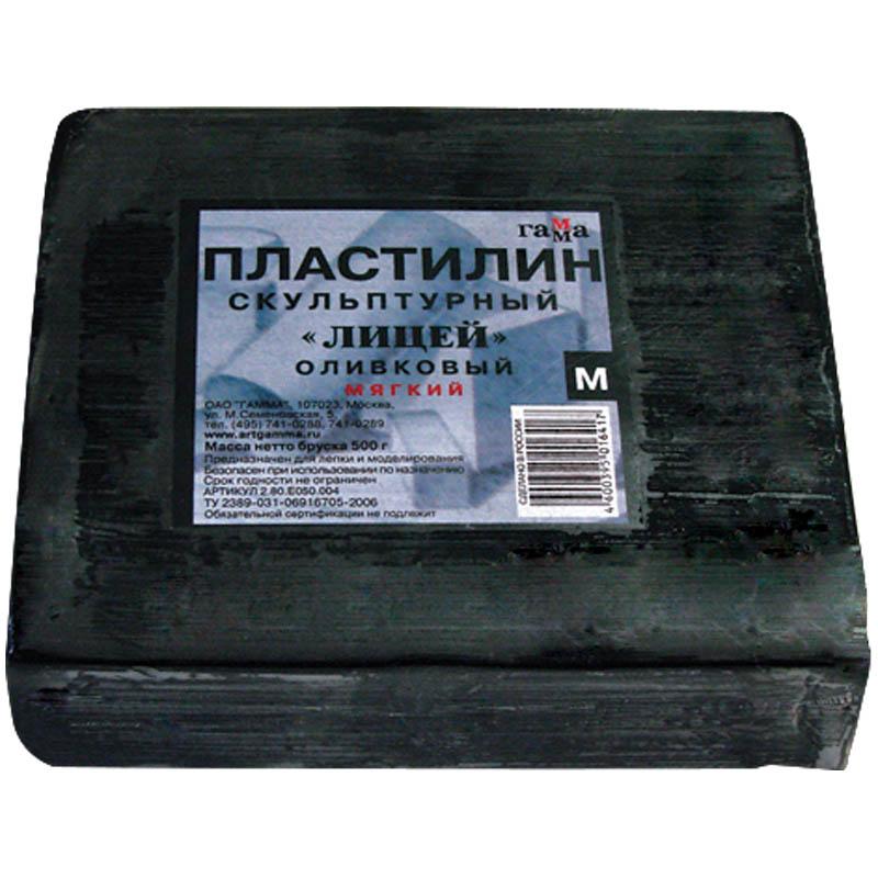 """Пластилин скульптурный 500гр, оливковый, мягкий """"Студия"""" (Гамма)"""