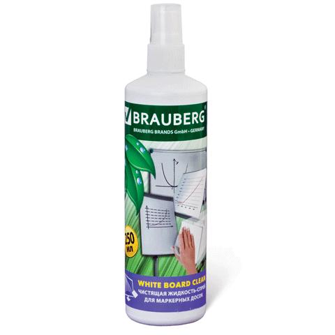 "Чистящая жидкость-спрей д/маркерных досок, 250 мл ""White board Clean"" (BRAUBERG)"