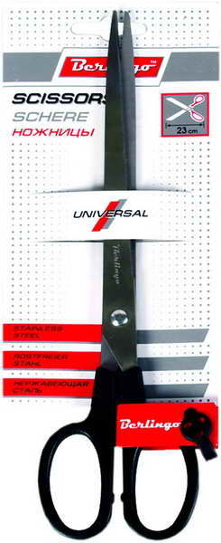 """Ножницы 230мм, черные """"Universal"""" 12шт/уп (Berlingo)"""